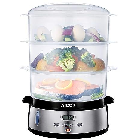 Aicok Vaporera Eléctrica, 9 L Vaporera con 3 Recipientes Apilables, Pantalla LED Temperatura y Tiempo Ajustable, 800W, Libre de BPA, Incluye Cubeta ...