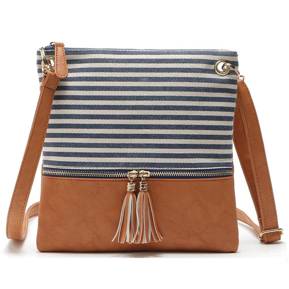 Adjustable Striped Canvas Leather Crossbody Shoulder Bag Tassel Double Zipper Messenger Bag Handbag for Women Lady Girls (Blue Stripe)
