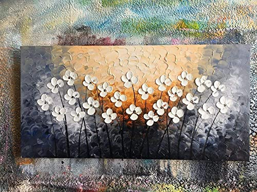 Yihui Arts Hand Painted Texture Large Oil Painting on Canvas Flower Wall Art for Living Room Decor Contemporary Artwork Framed Ready to Hang 20Wx40L