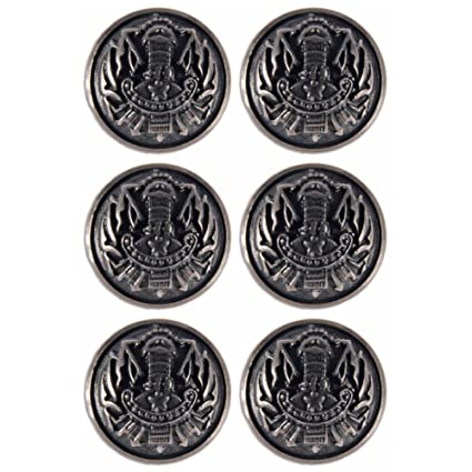 PLATED PLASTIC MILITARY COAT OF ARMS CREST DOMED SHANK BUTTONS Size 15mm