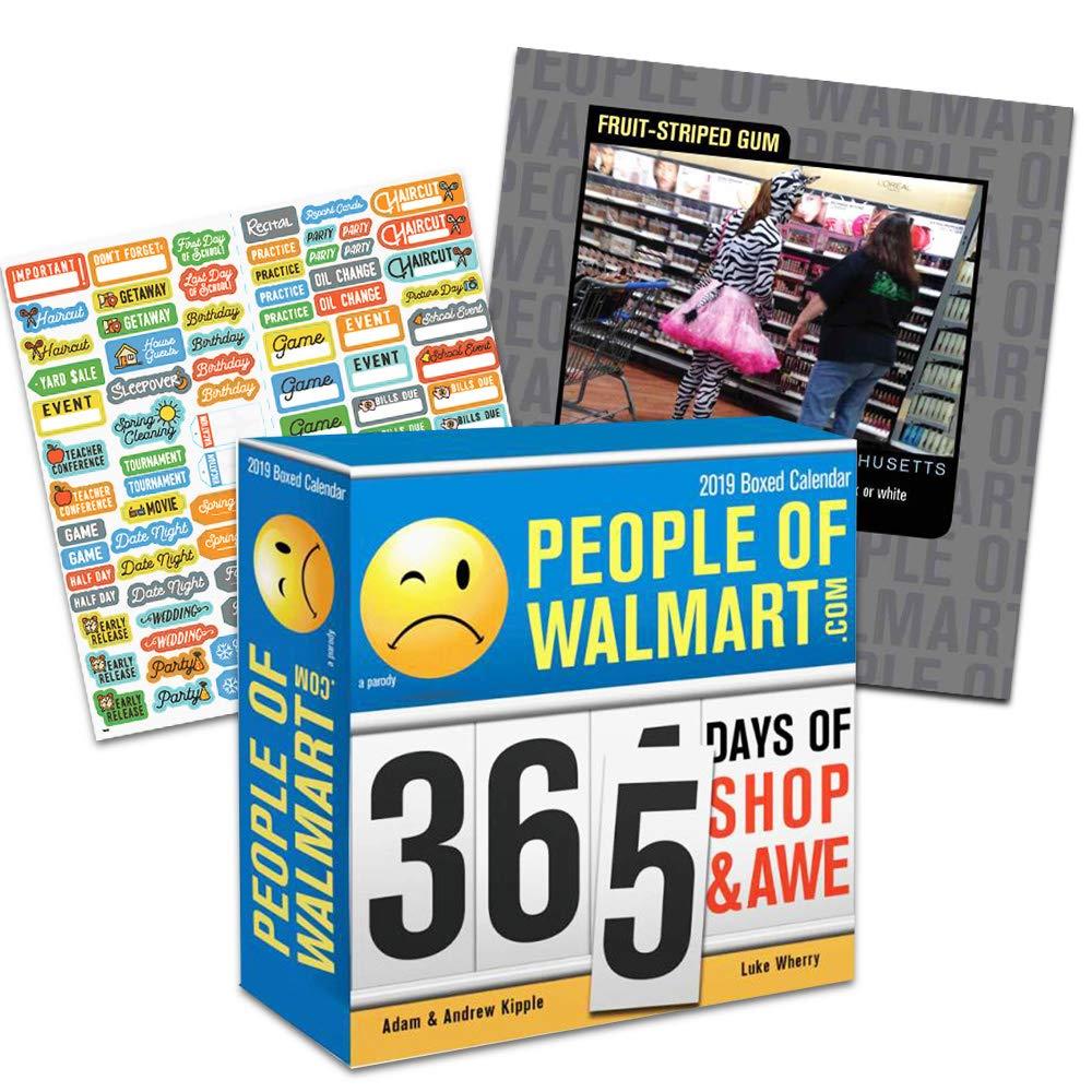 People of Walmart 2019 箱入りカレンダー バンドル - 365ページ 2019 ウォールマートの人々 毎日のデスクカレンダー 100枚以上のカレンダーステッカー付き (ウォールマートギフト オフィス用品)   B07M9CMR7F