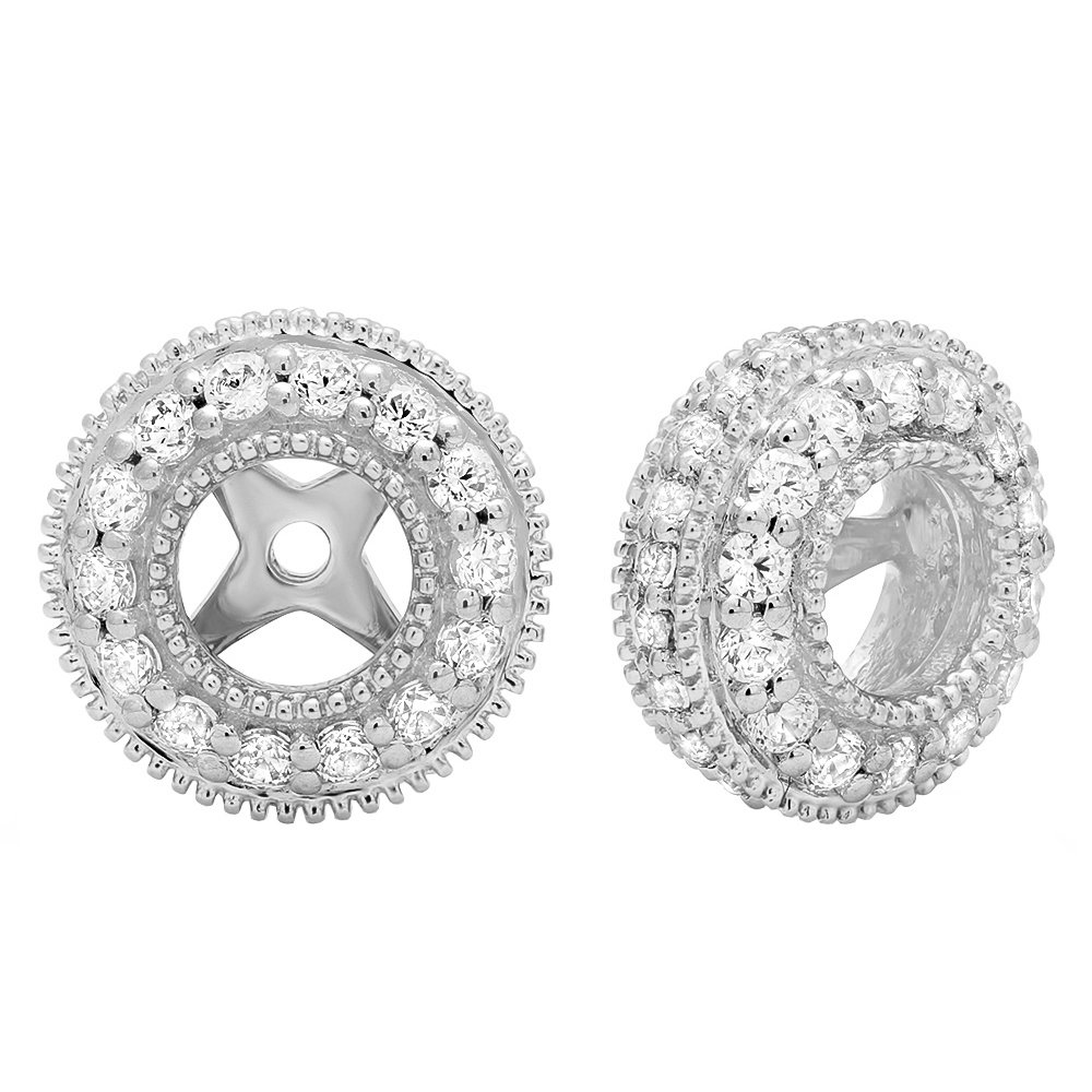 1.05 Carat (ctw) 10K White Gold Round Cubic Zirconia Removable Jackets For Stud Earrings 1 CT by DazzlingRock Collection