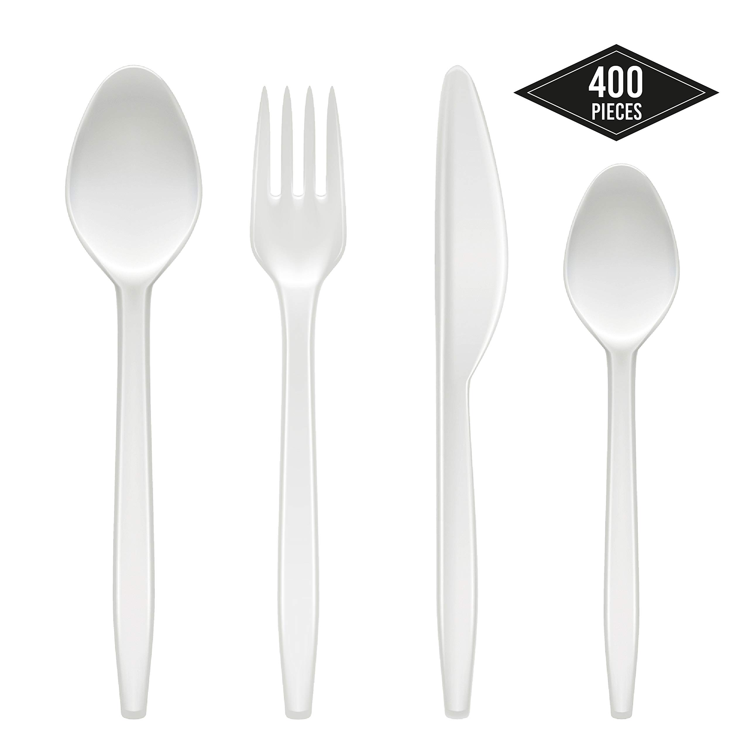 Clear Plastic Heavy Duty Cutlery Forks Spoons Knives XMAS Party