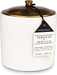Paddywax Candles Hygge Collection Scented Candle, 15-Ounce, Tobacco + Vanilla