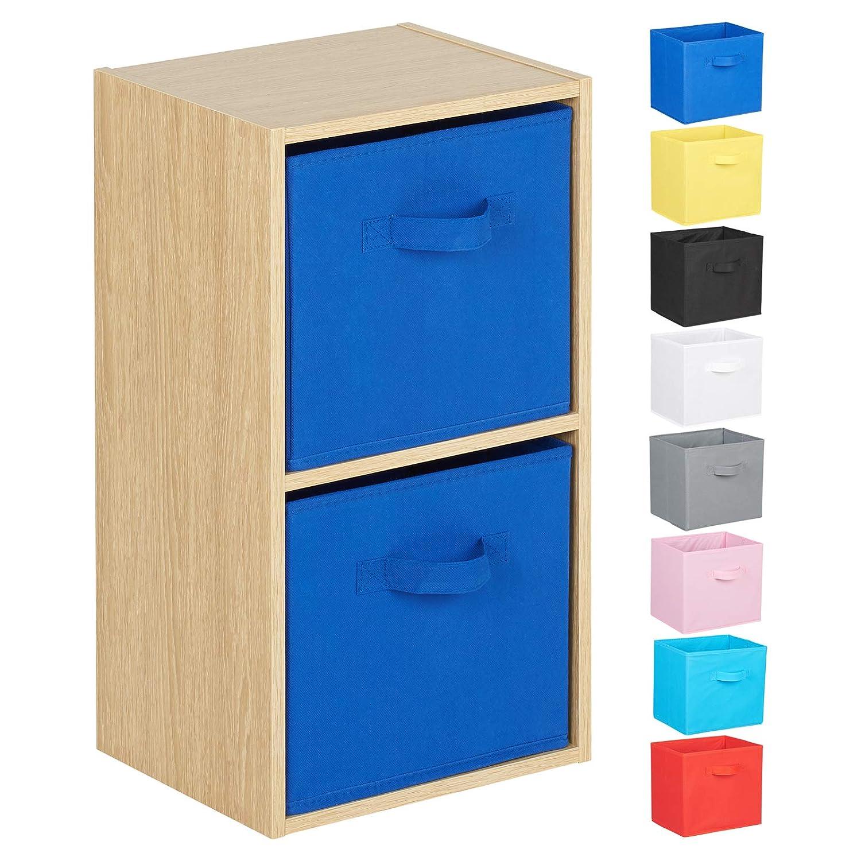 Hartleys 2 Tier Oak Cube Unit - Choice of Storage Boxes
