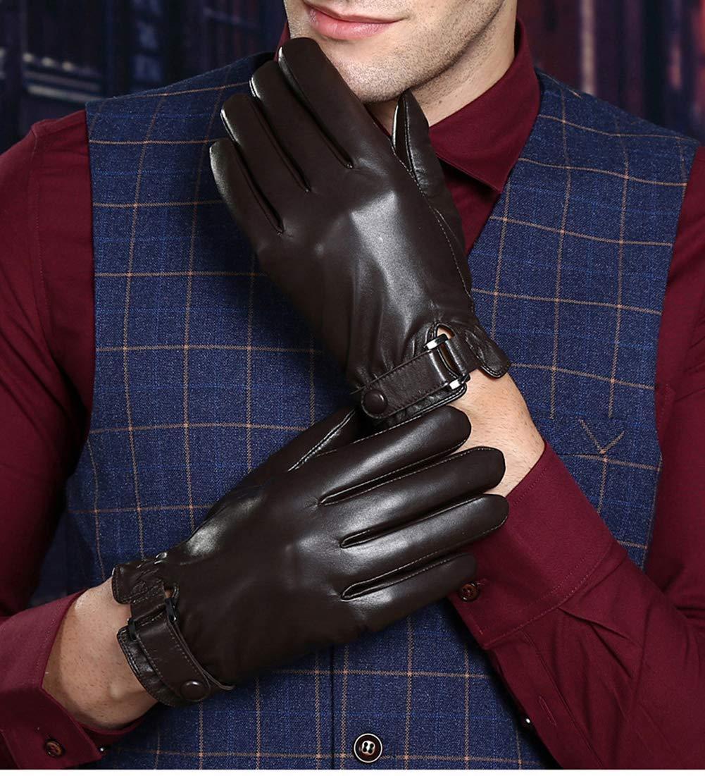 SHT Echte Schaffell-Touchscreen-Handschuhe, Männer-Winter-Radfahren Fahren Warm Und Kaschmir Echte Schaffell-Handschuhe, (1 Paar),Braun,M