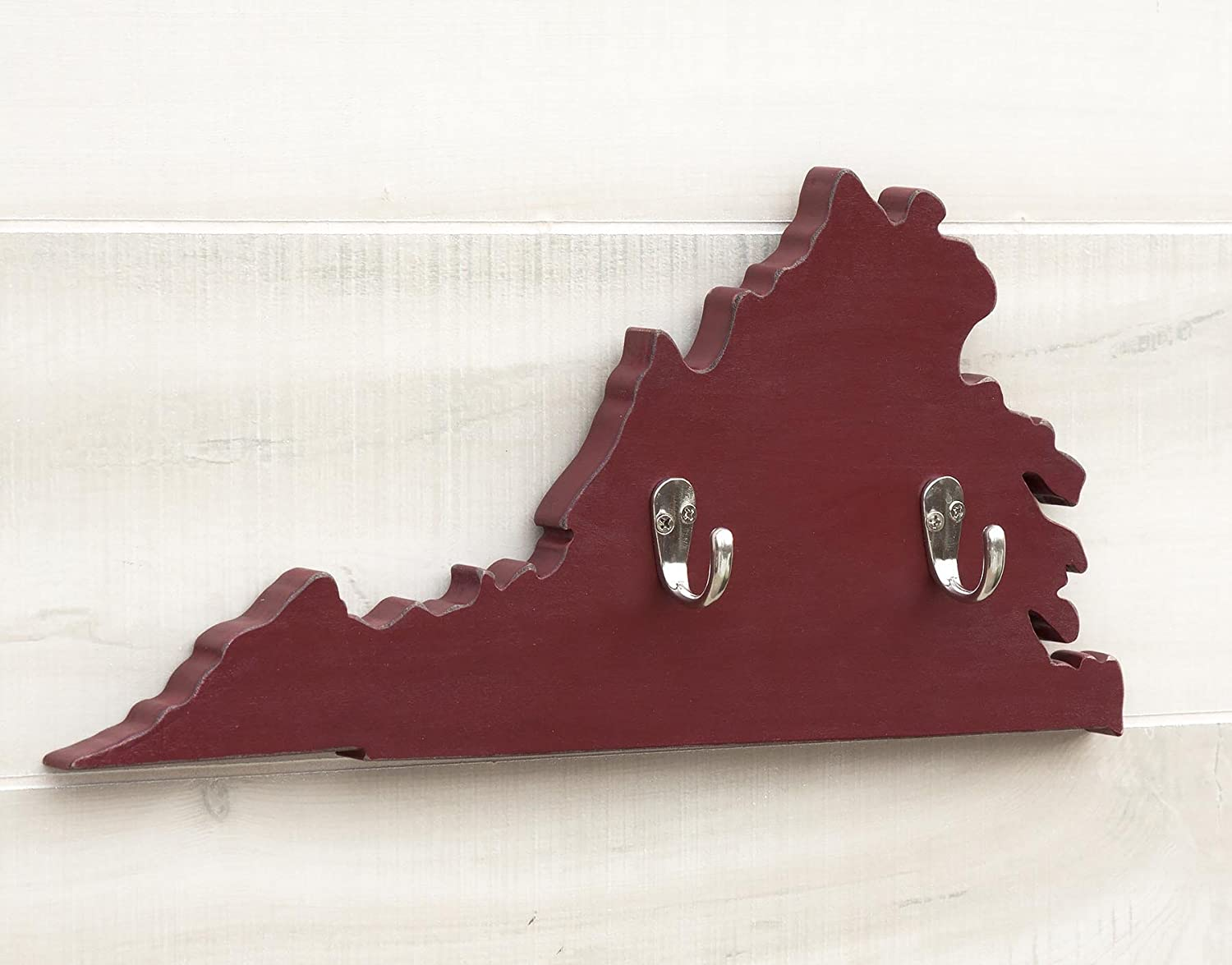 Amazon Com Virginia State Map Shape Key Hook Home Organizer Additional Us States O W Available 20 Paint Colors 3 Key Hook Colors Solid Wood Cutout