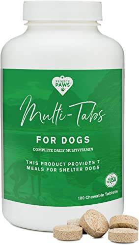 Project Paws Multi Tabs Plus Dog Vitamins – Chewable Multivitamin Pet Tablets for Dogs – 180 Count
