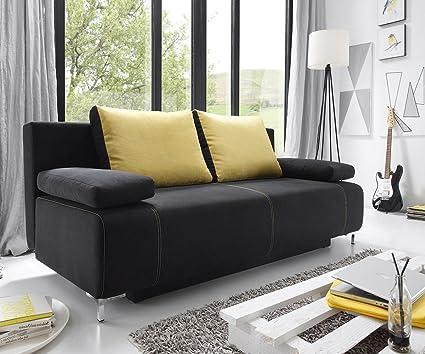 Sofá cama Kato negro 193 x 89 cm con cajoneras almohada sofá ...