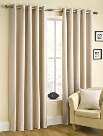 Rico Natural Chenille Lined Ready Made Curtains 90