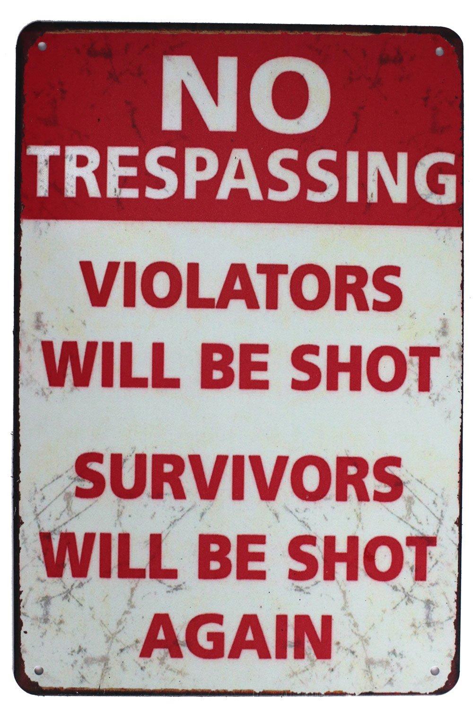 SUMIK No Trespassing Violators Will Be Shot Survivors Will Be Shot Again, Funny Metal Tin Sign, Vintage Poster Plaque Man Cave Home Yard Bar Wall Decor China