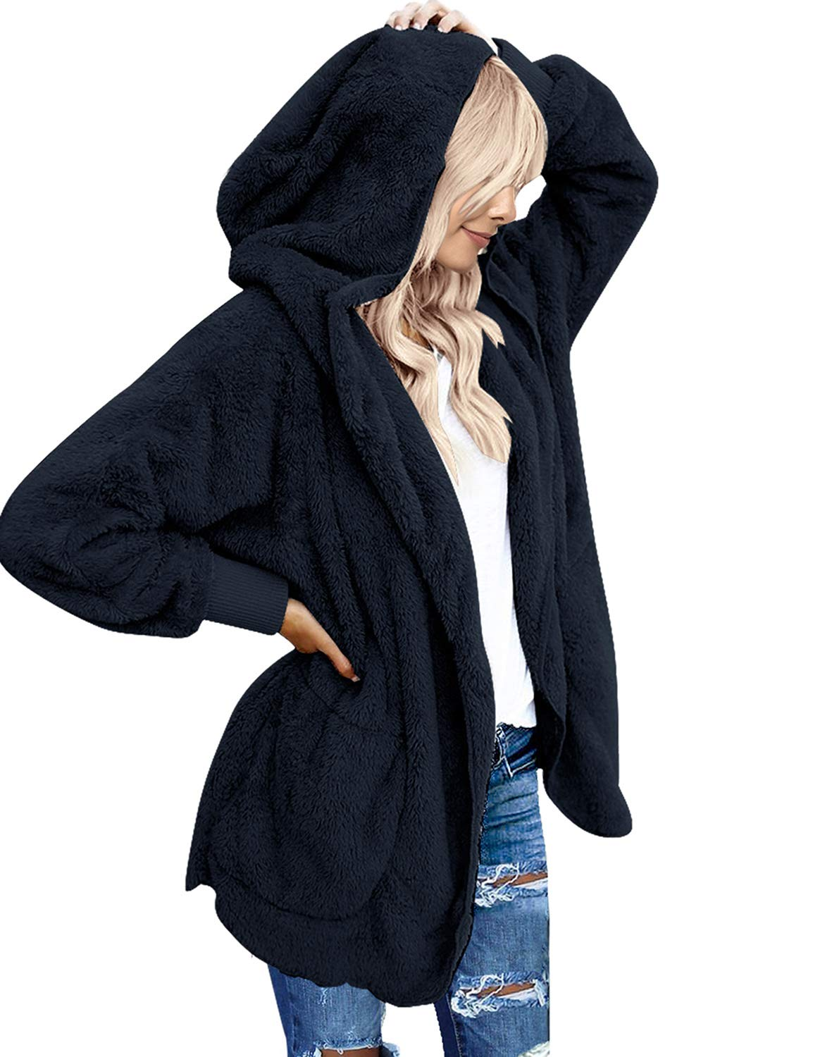 Women/'s Oversized Open Front Hooded Draped Pockets Cardigan Casual Coat US