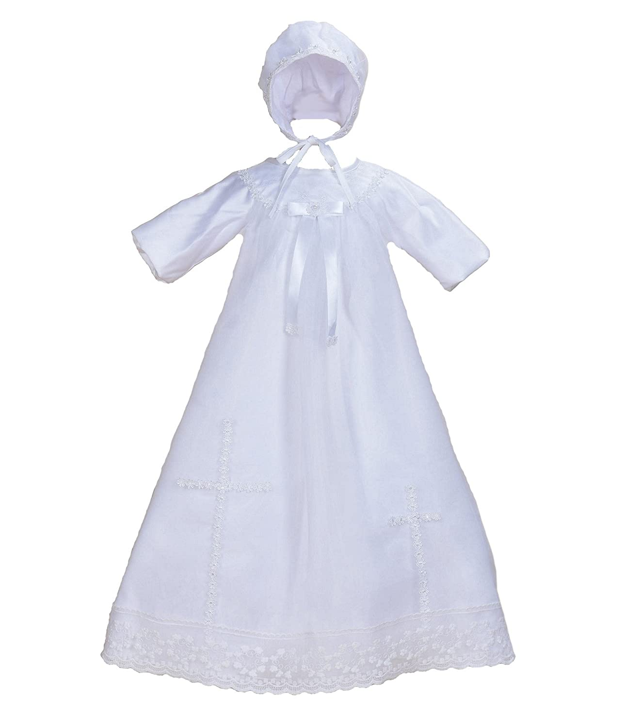 Cinda Baby Long Sleeves Satin Christening Long Gown and Bonnet GZ928