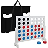 Smartxchoices Giant 4 in a Row Game Classic Wood Outdoor Board Game Toy For Family w/ a Carrying Shoulder Bag 3 foot Width