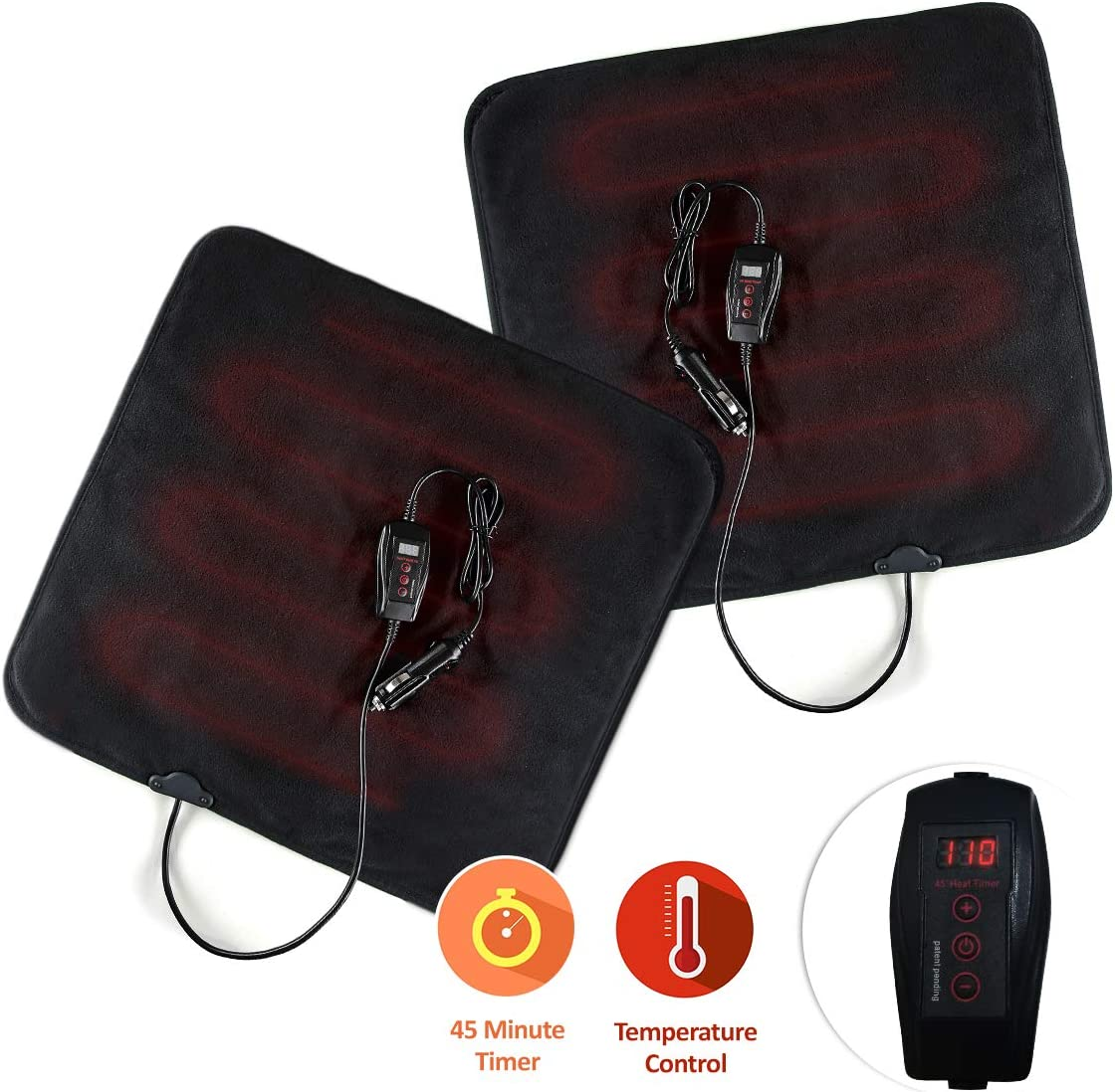 Zone Tech Car Mini Heated Travel Blanket Pad – 2-Pack Classic Black Premium Quality 12V Heated Car Mini Blanket Pad Perfect for Winter Travel