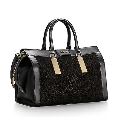 78fca95de7 Amazon.com: Calvin Klein Brynn Suede Faux Leather Duffle Satchel Bag Black:  Shoes