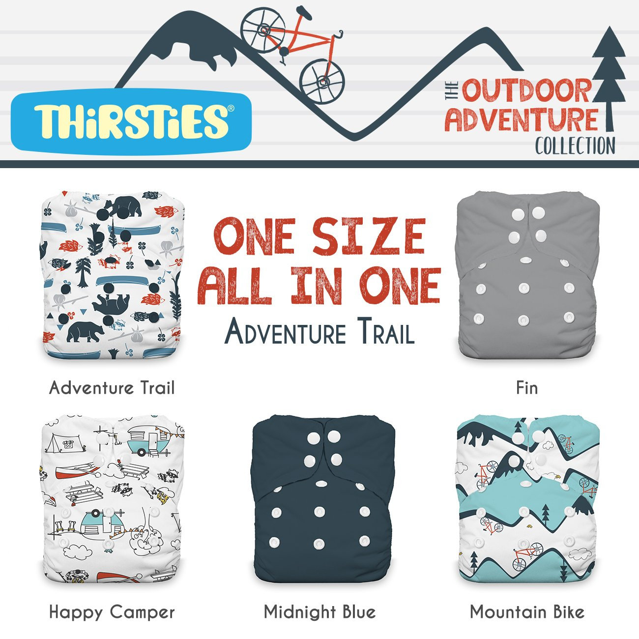 Thirsties Package, Snap One Size All In One, Outdoor Adventure Collection Adventure Trail