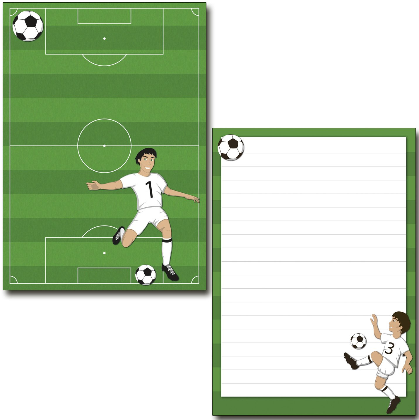 2 Stü ck Schreibblö cke Fuß ball 50 Blatt Format DIN A5 mit Deckblatt 7150 Konzept-G