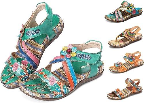 Camfosy Sandales Cuir Femmes Plates, Chaussures Été Tongs Mules Strass Semelle Confortable à Talons Plats Bohème Originales Colorées pour Pieds Larges