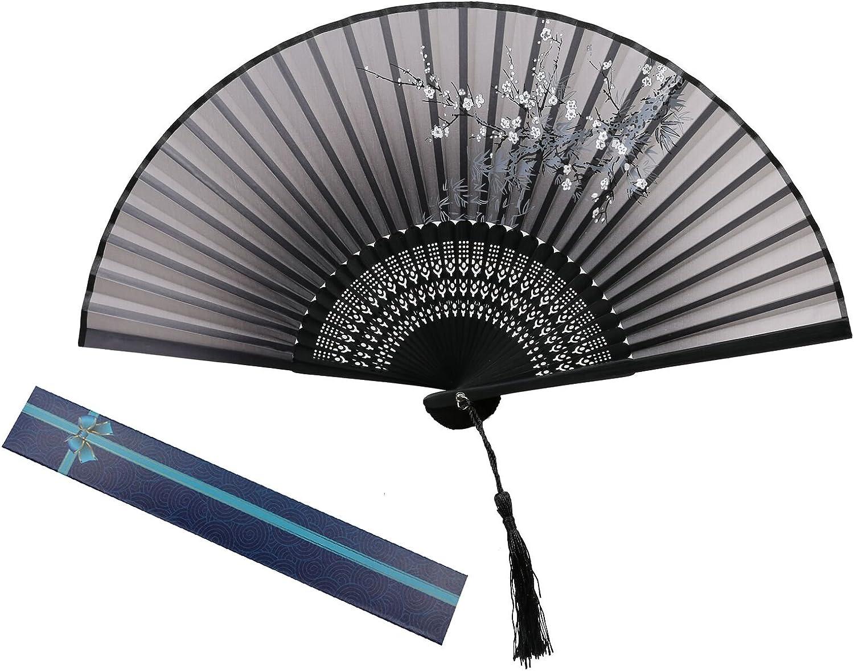 KAKOO ventilador plegable seda de ciruelo flor con la caja de regalo abanico mano de bambú de mango de las mujers boda baile de abanico de pared decoración carnaval