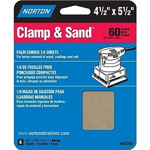 Norton Clamp & Sand Palm Sander Sandpaper Sheets 150 Grit 4.5