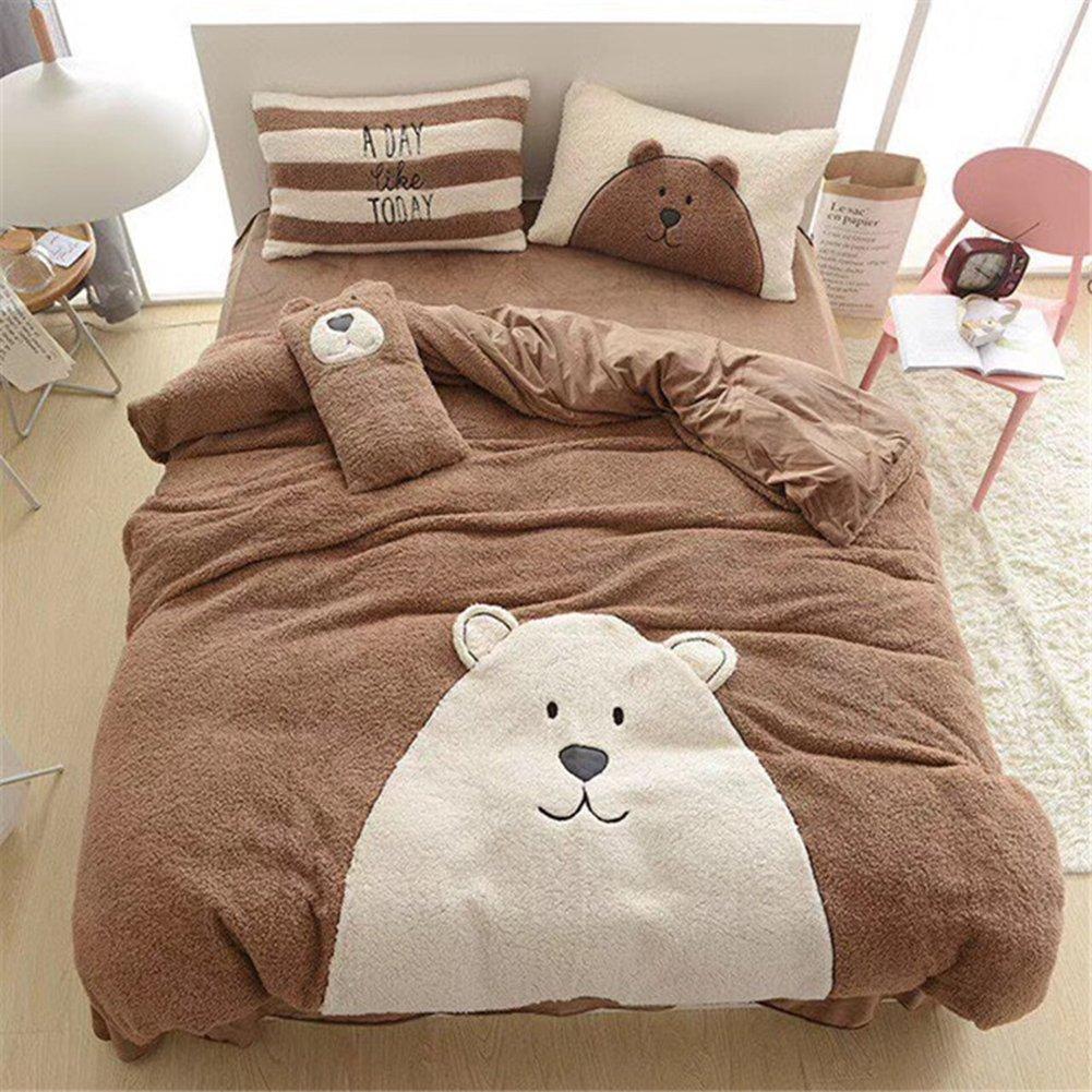 Cartoon Flannel Bedding Sets Winter - Thicken Design Cute Bear Duvet Cover Flat Sheet Full Coffee
