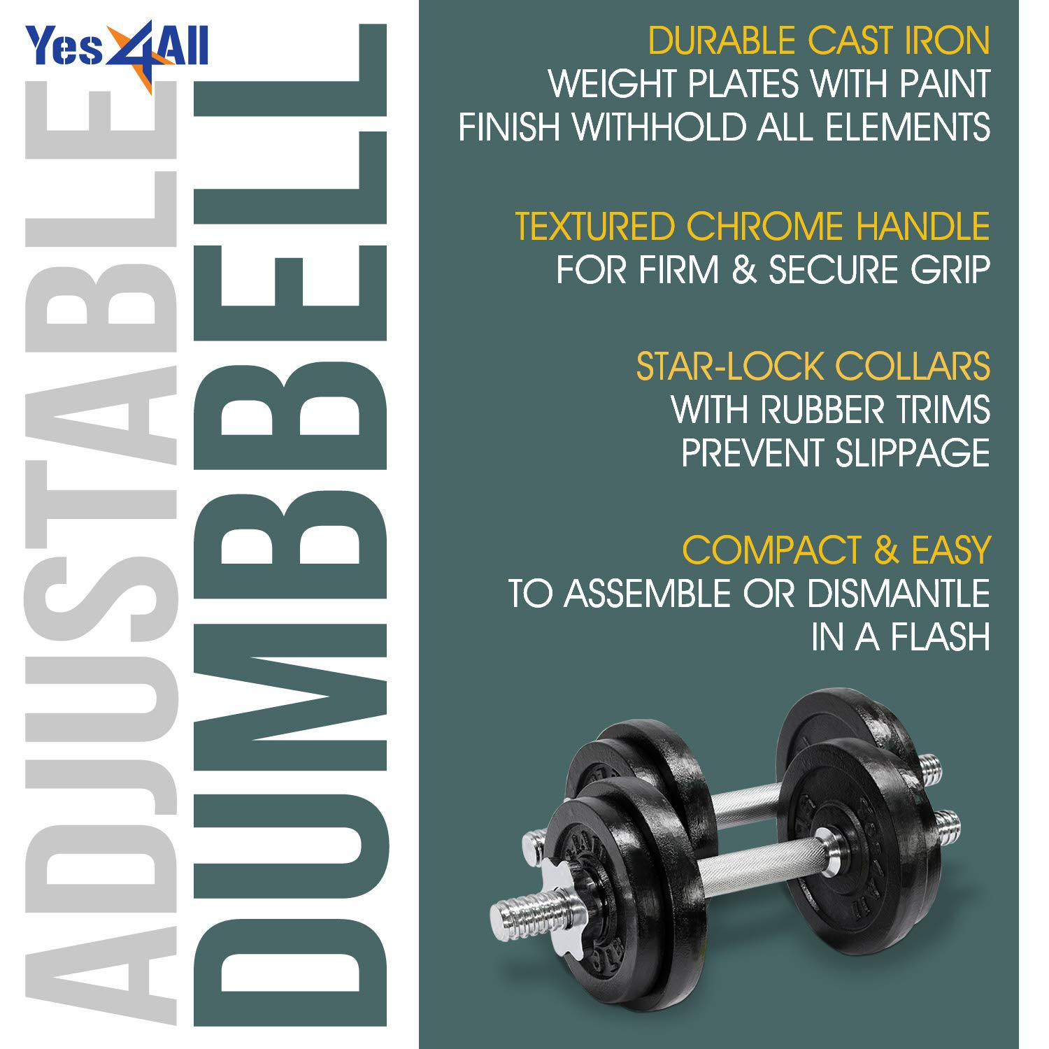 Yes4All Adjustable Dumbbell 40.02 lbs by Yes4All (Image #4)