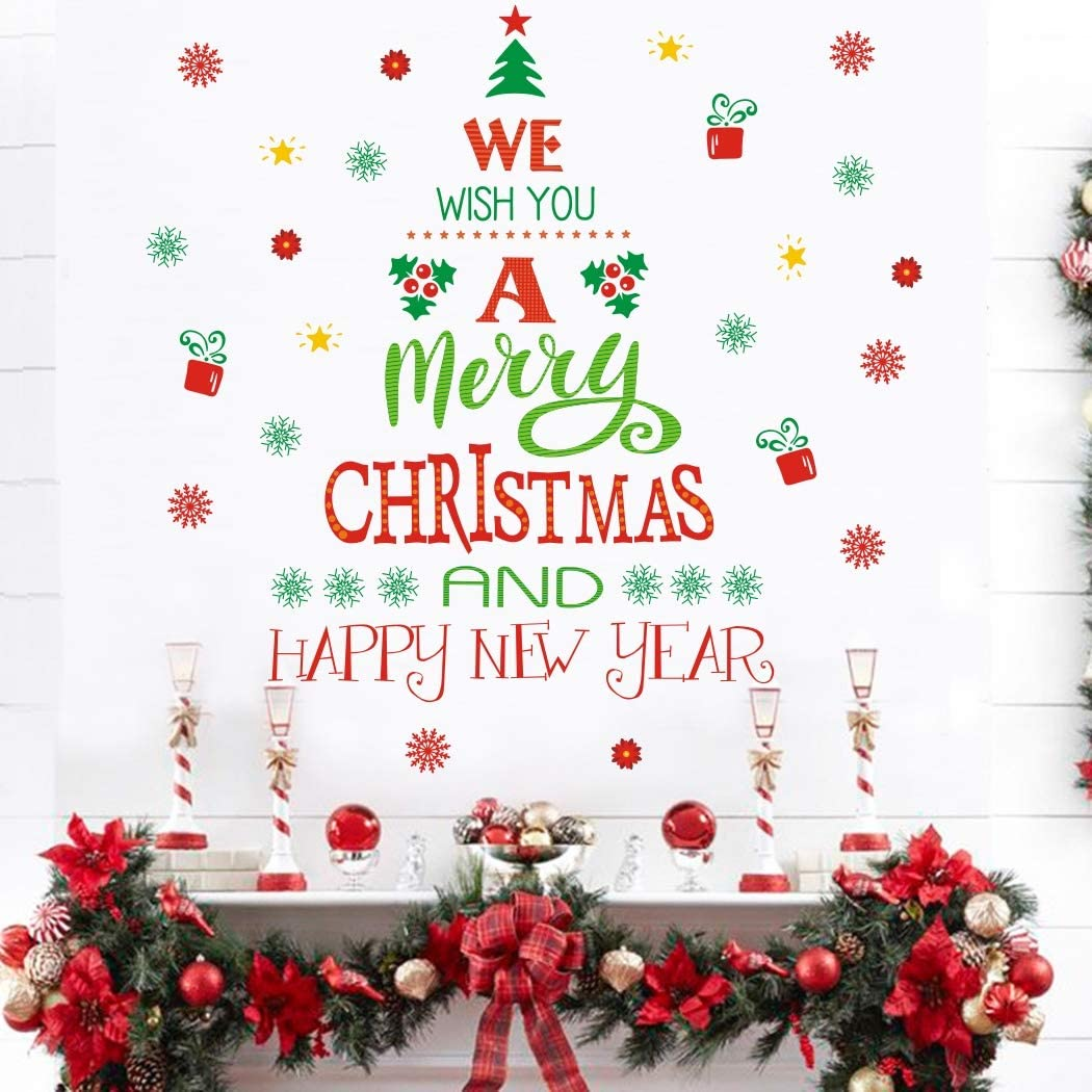 amazon com merry christmas quotes wall decals 43 decals happy new year quotes stickers christmas tree mistletoe stars fireworks candle snowflake wall art for christmas party supplies window clings door fridge arts crafts merry christmas quotes wall decals 43 decals happy new year quotes stickers christmas tree mistletoe stars fireworks candle snowflake wall art for