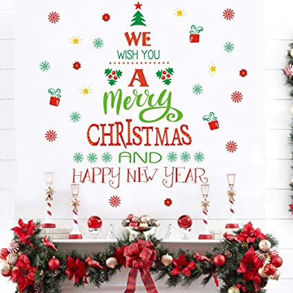 Amazon Com Merry Christmas Quotes Wall Decals 43 Decals Happy New Year Quotes Stickers Christmas Tree Mistletoe Stars Fireworks Candle Snowflake Wall Art For Christmas Party Supplies Window Clings Door Fridge Arts Crafts