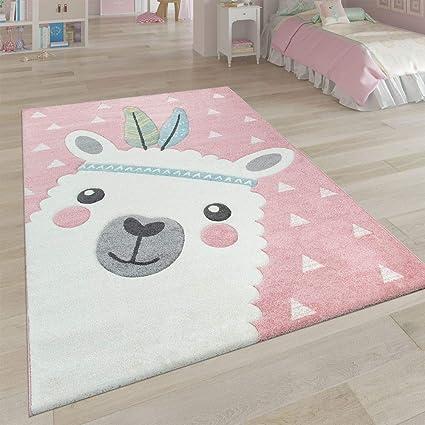 Tapis Enfant Chambre Enfant Aspect 3D Adorable Alpaga Design Tons Pastel en  Rose, Dimension:Ø 120 cm Rond