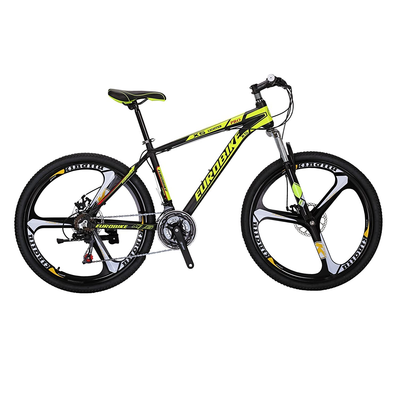 EUROBIKE X5アルミニウム合金フレーム 26 マウンテン 21速 変速 マウンテンバイク 前後ディスクブレーキ 3つのスポークのラウンド 通学 自転車 通勤自転車 B07BHCJ3S7 黄 黄