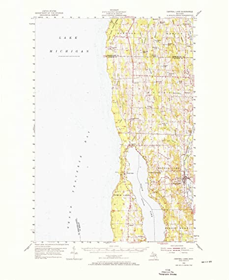 Amazon.com: YellowMaps Central Lake MI topo map, 1:62500 Scale, 15