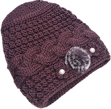 Winter Elderly Grandmother Knitted Hat Mother Woman Flower Soft Warm Beanie Cap