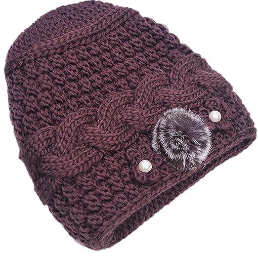 267e0e88035 THENICE Women s Mother elderly Winter Skull Cap Fur Flowers velvet Knit Hat  (Brown)