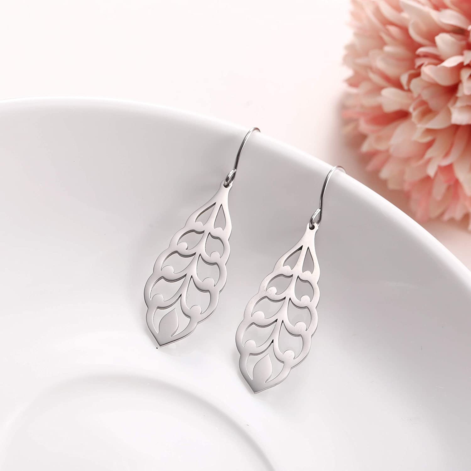 fishhook Filigree Earrings Delicate Leaf Flower Earrings Stainless Steel Dangle Drop Earrings for Women Mom Girls Sister Grandma Aunt Best Friend