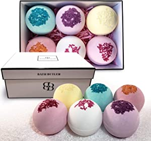Bath Butler Bath Bomb Gift Box - 6 Extra Large Bath Bombs with Epsom Salt and Organic Shea Butter -Best Gifts for Women, Unique Christmas Gift Ideas, Mom Gifts,  Kid Safe Bubble Bath for Kids
