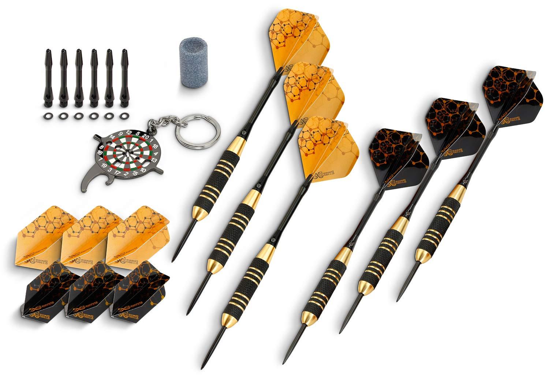Professional Steel Tip Custom Flight Shaft Darts Set Case Brass Barrels 22-Grams