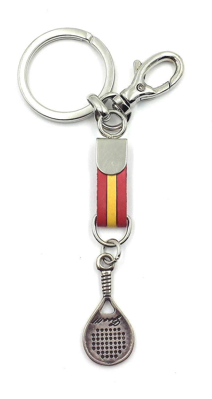 FJR-ArtPiel - Llavero bandera de España con raqueta de padel y mosquetón de seguridad - Alta Calidad