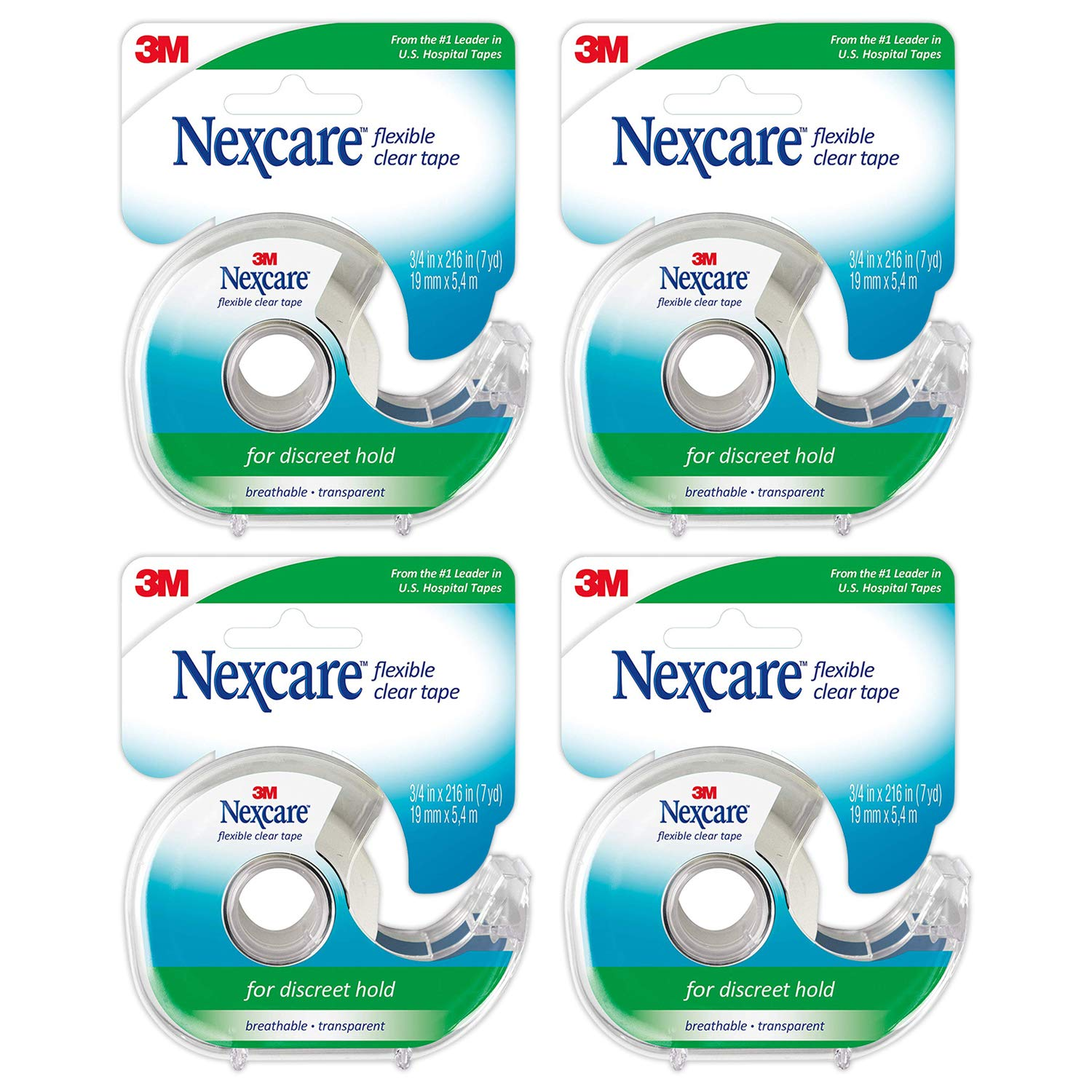 """Nexcare Clear Tape 3/4"""" X 7 Yd (Pack of 4)"""