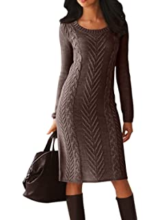 1bac11be74d Dearlove Women s Long Sleeve Crew Neck Slim Knit Sweater Bodycon Midi Dress