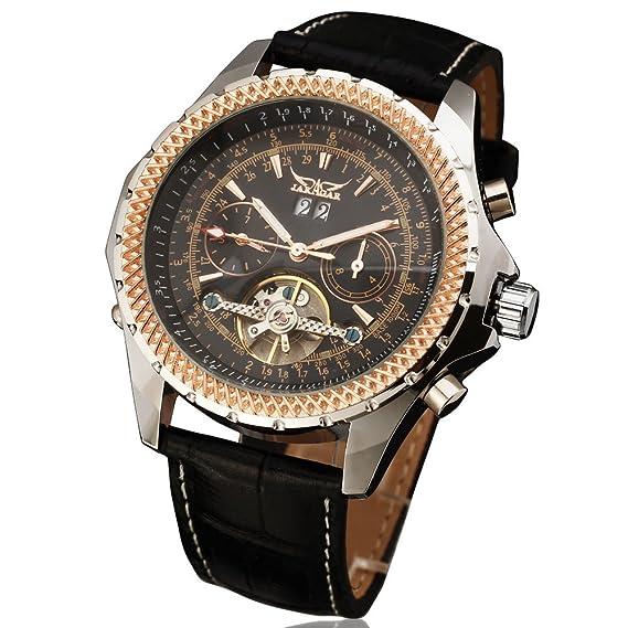JARAGAR Relojes Hombres Marca de lujo automático reloj mecánico 4 manos FECHA/día Tourbillon reloj de los hombres reloj de pulsera Relogio Masculino: ...
