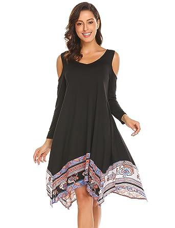 aba5d4daabce8 BURLADY Women s Tunic Top Loose Dresses Cold Shoulder Casual Swing T-Shirt  Dress