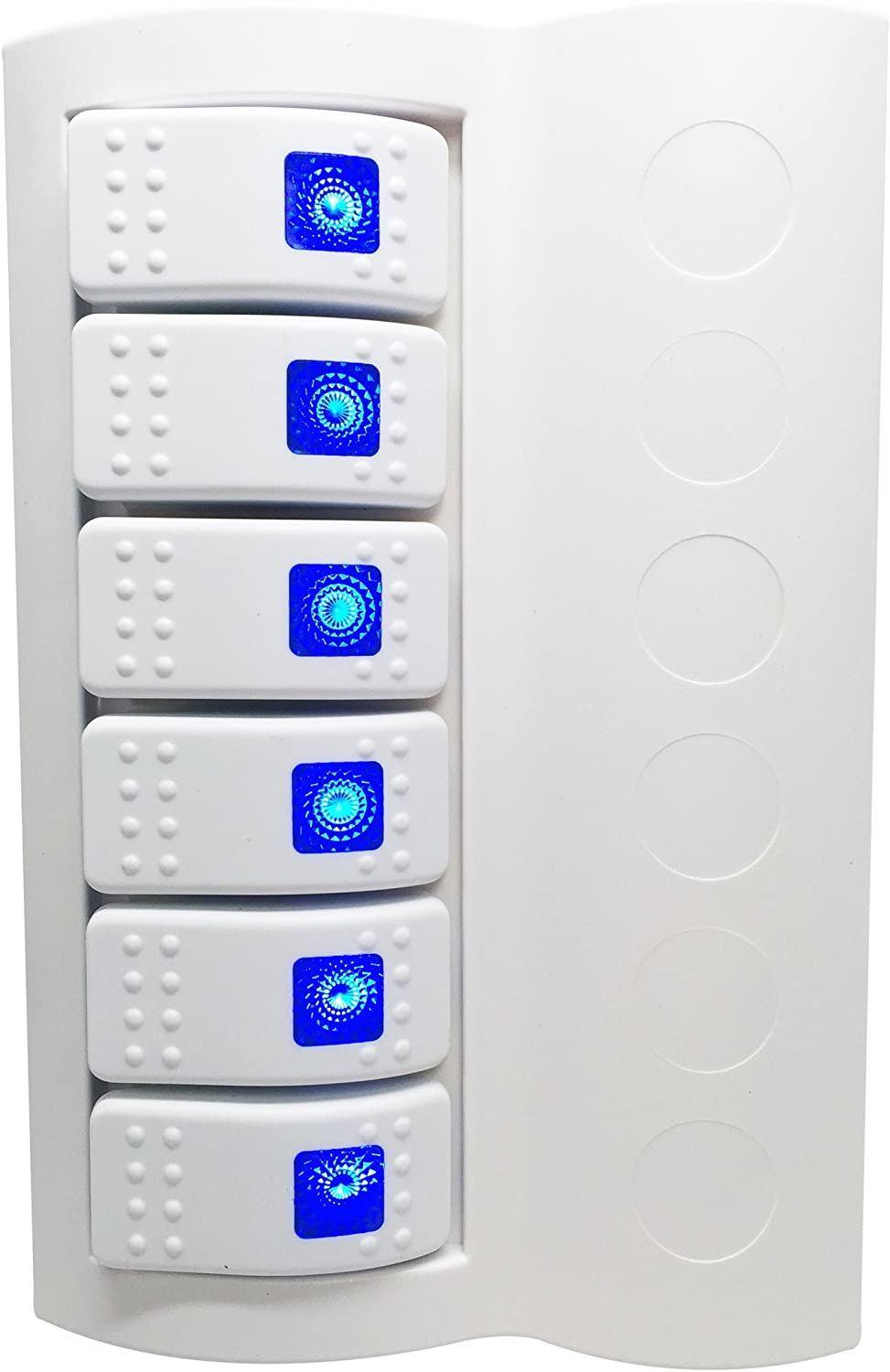 Pactrade Marine P11176WHB Boat Waterproof White Switch Panel Circuit Breaker 6 Gang Blue LED Rocker