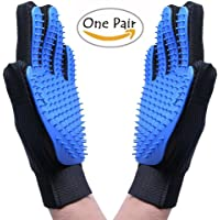 Pet Grooming Glove,Dog Cat Massage Tool Hair Remover Mitt,Horse Gentle Deshedding Brush Long & Short Fur Comb, Five Finger Design Bathing Brush,Blue (1 Pair)