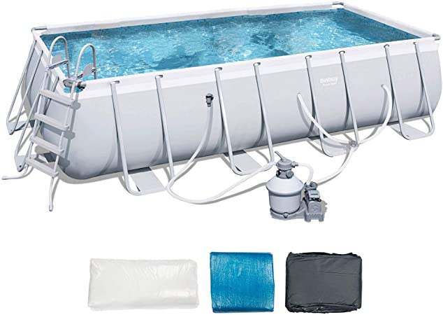 Amazon Com Bestway 18 X 9 X 4 Power Steel Frame Above Ground Rectangular Swimming Pool Set With 1000 Gph Sand Filter Pump Pool Cover And Ladder Garden Outdoor
