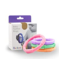 Bonbino™ Teether Rings - (4 Pack) Silicone Sensory Teething Rings - Soothes Baby...