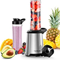 Homever Personal Blender, Smoothie Blender with 600ml Tritan BPA-Free Sport Bottle. Removable 4 Stainless Steel Blades, Blenders for Smoothies and Shakes, 350W Smoothie Maker, Silver