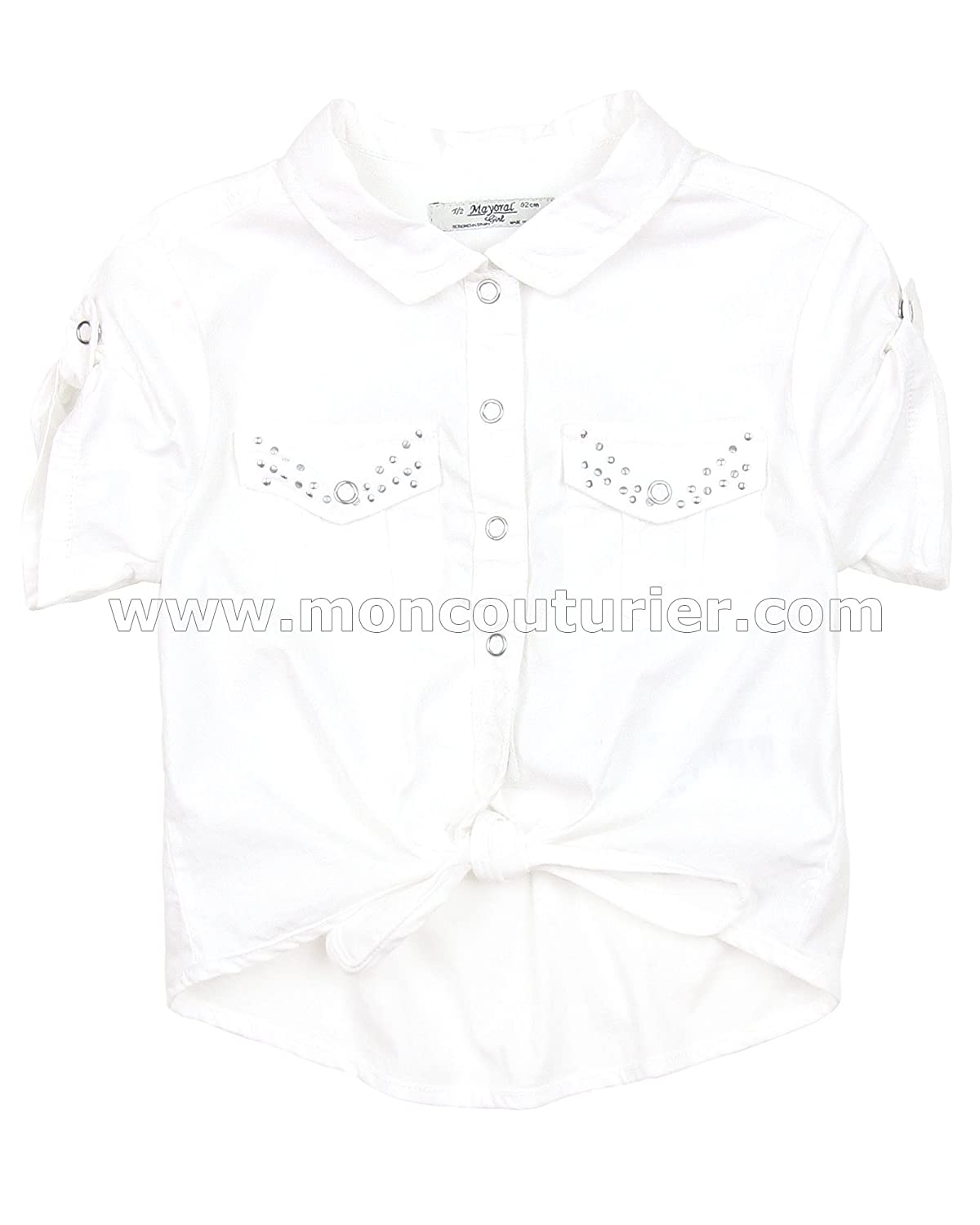 Mayoral Girl's Shirt with Knot, Sizes 2-9