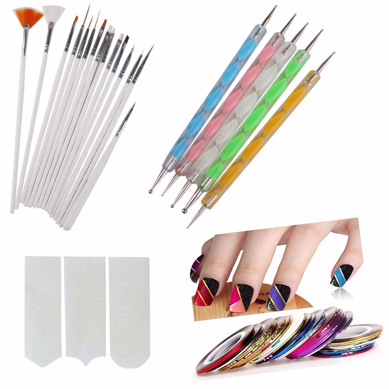 FOK Plastic Nail Art Paint Kit (Random Colour) - Set of 31 Pieces product image