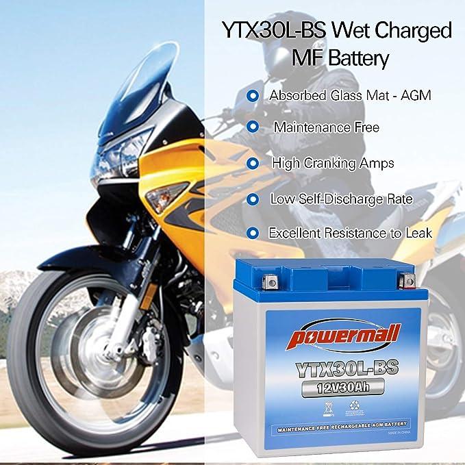 Powermall YTX30L-BS 12V 30Ah SLA AGM Rechargeable Replacement CTX30L YIX30L GTX30L-12B ES-TX30L EBX30L-BS PIX30L-BS Battery for Ducati Piaggio Motorcycle Snowmobiles Arctic Cat UTV ATV